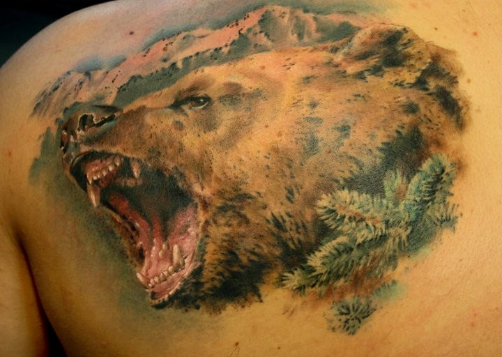 Тату с медведям на спине