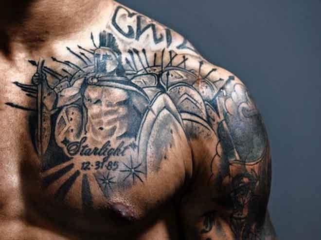 Dove tattoos on chest for men